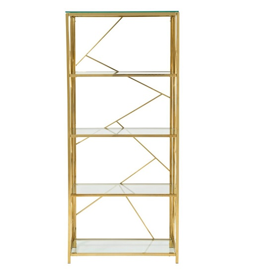 Betty Modern Bookcase In Clear Glass With Gold Frame_2