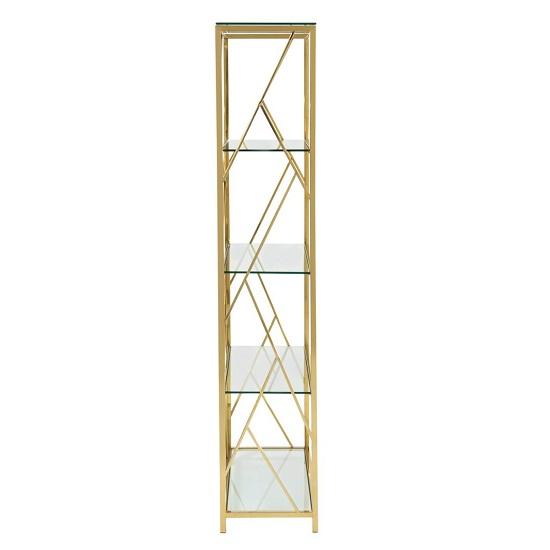 Betty Modern Bookcase In Clear Glass With Gold Frame_3