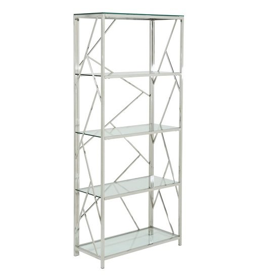 Betty Modern Bookcase In Clear Glass With Silver Frame_1