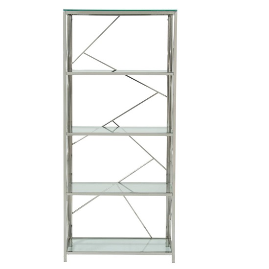 Betty Modern Bookcase In Clear Glass With Silver Frame_2
