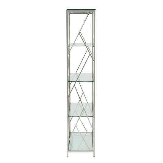 Betty Modern Bookcase In Clear Glass With Silver Frame_3