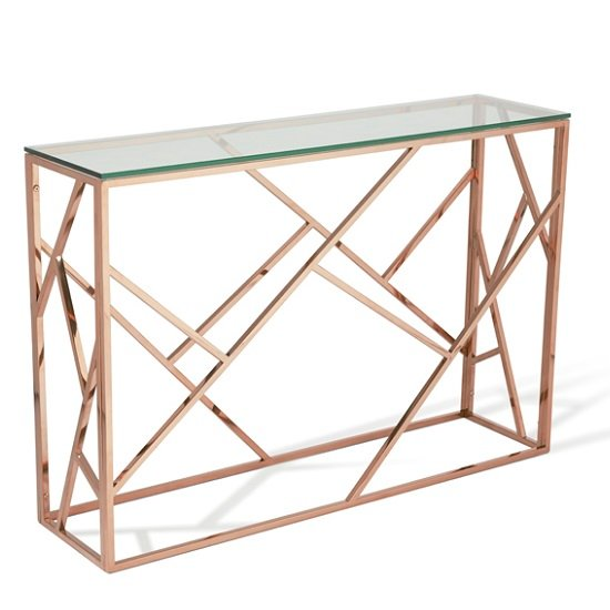 Betty Gl Console Table In Clear With Rose Gold Base Frame 1