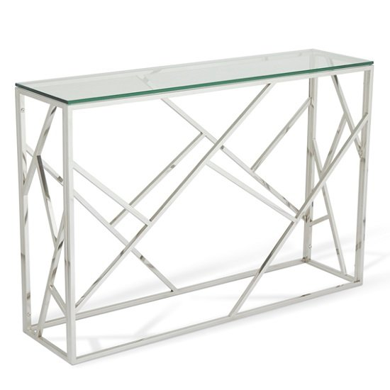 Betty Glass Console Table With Polished Stainless Steel Base_1