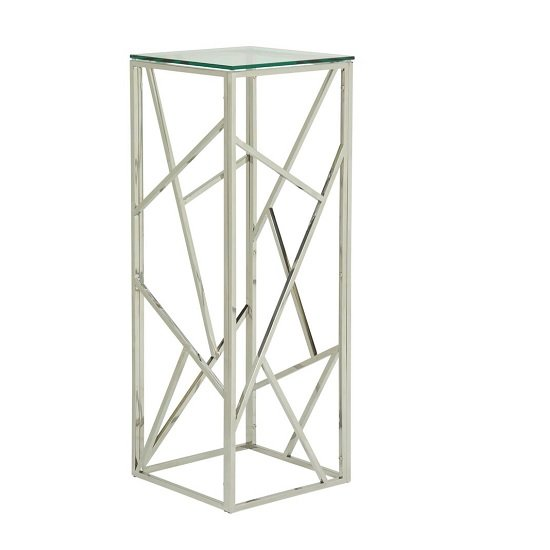 Betty Modern Pedestal In Clear Glass With Silver Frame