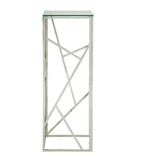 Betty Modern Pedestal In Clear Glass With Silver Frame_2