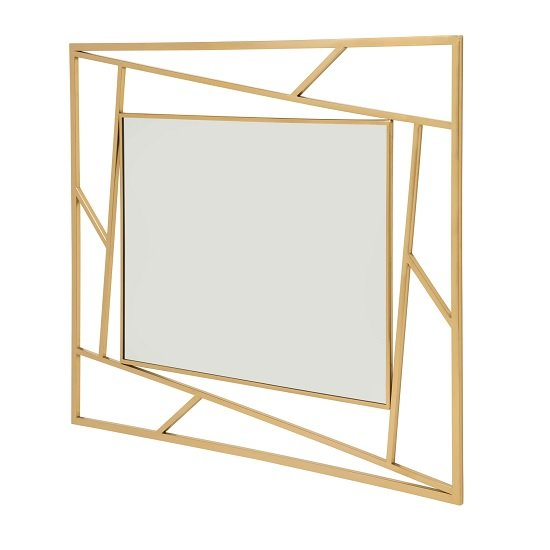 Betty Contemporary Wall Mounted Mirror With Gold Frame