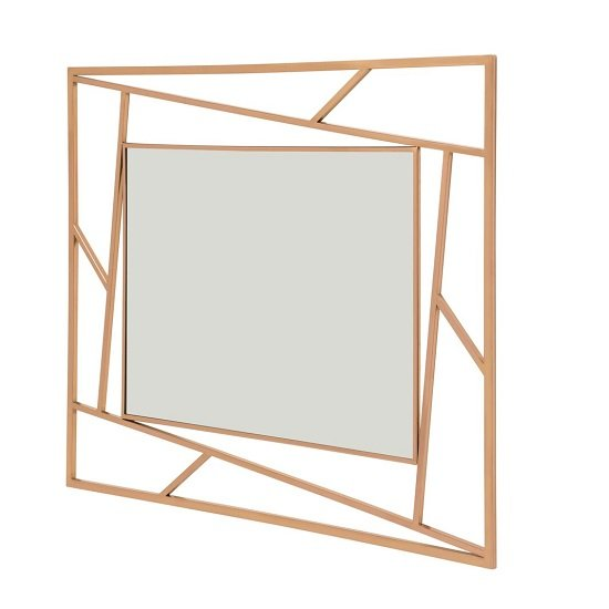 Betty Contemporary Wall Mounted Mirror With RoseGold Frame_1