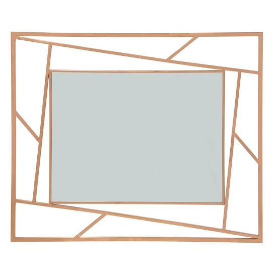 Betty Contemporary Wall Mounted Mirror With RoseGold Frame_2