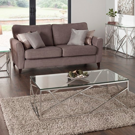 Betty Glass Coffee Table With Polished Stainless Steel Base