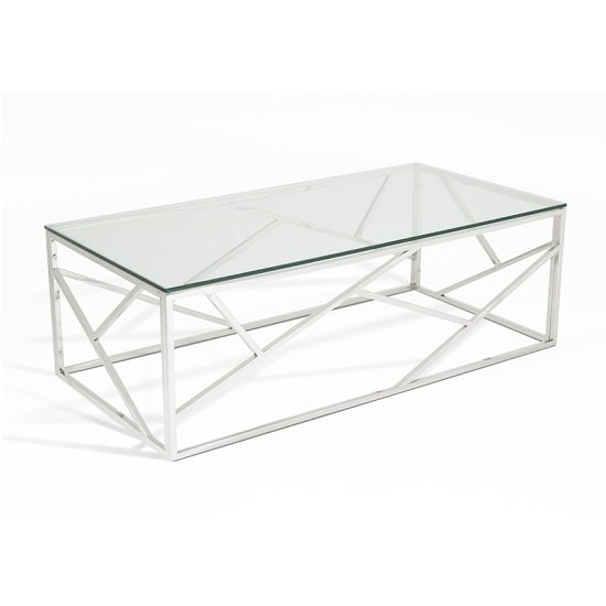 Betty Glass Coffee Table With Polished Stainless Steel Base_1