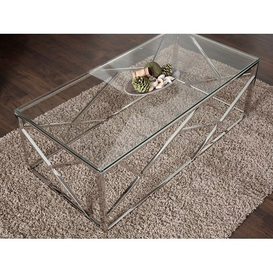 Betty Glass Coffee Table With Polished Stainless Steel Base_7