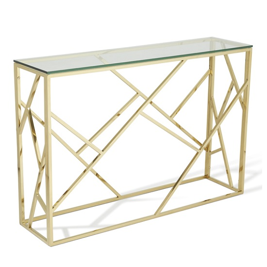 Betty Glass Console Table In Clear With Gold Base Frame_1