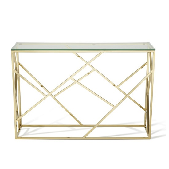 Betty Glass Console Table In Clear With Gold Base Frame_3