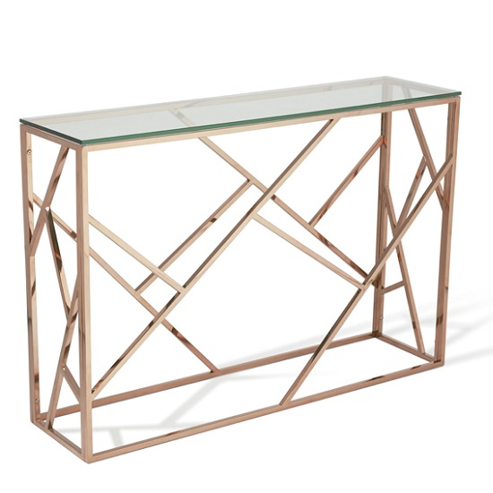 Betty Glass Console Table In Clear With Rose Gold Base Frame