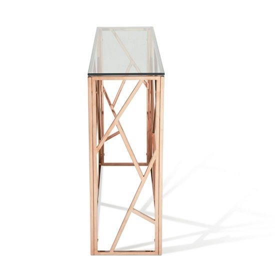 betty glass console table in clear with rose gold base frame2