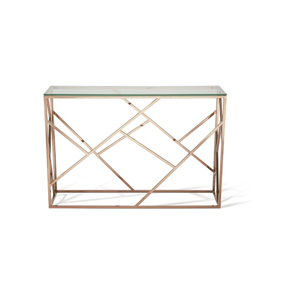 ... Betty Glass Console Table In Clear With Rose Gold Base Frame_3 ...