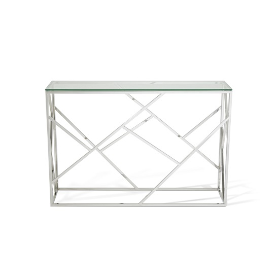 Betty Glass Console Table With Polished Stainless Steel Base_3