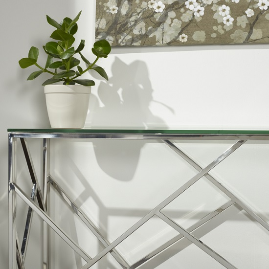Betty Glass Console Table With Polished Stainless Steel Base_4