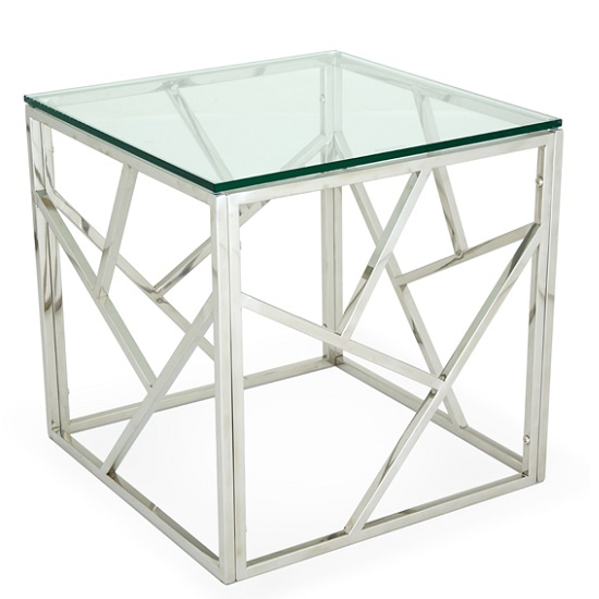 Betty Glass Lamp Table With Polished Stainless Steel Base