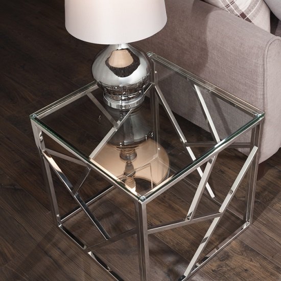 Betty Glass Lamp Table With Polished Stainless Steel Base_2