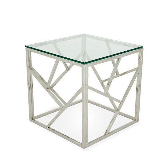 Betty Glass Lamp Table With Polished Stainless Steel Base_3