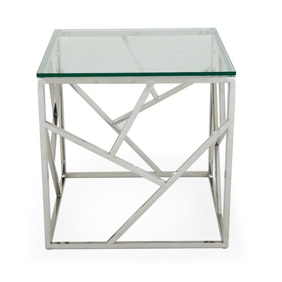 Betty Glass Lamp Table With Polished Stainless Steel Base_4