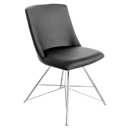 Bexley Black Leather Dining Chair With Slick Metal Frame