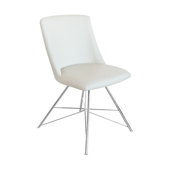 Bexley Cream Leather Dining Chair With Slick Metal Frame