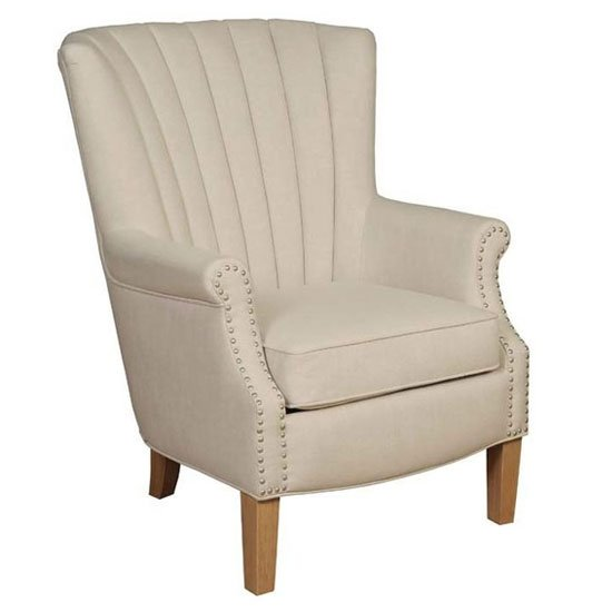 Bexley Fabric Lounge Chaise Armchair In Beige