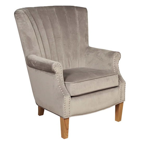 Bexley Fabric Lounge Chaise Armchair In Grey Velvet