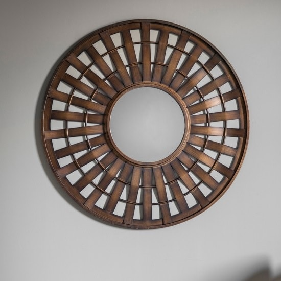 Bexley Metallic Wall Mirror Round In Bronze