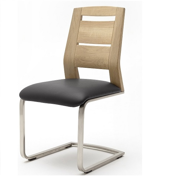 dining chair in pu black leather and bianco wood dining room chairs