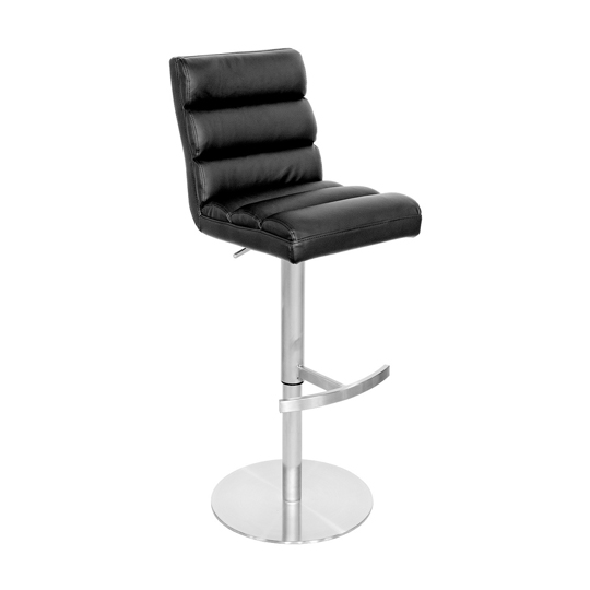 Bianca Black Leather Bar Stool With Stainless Steel Base