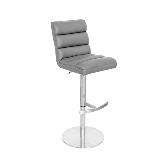 Bianca Grey Leather Bar Stool With Stainless Steel Base