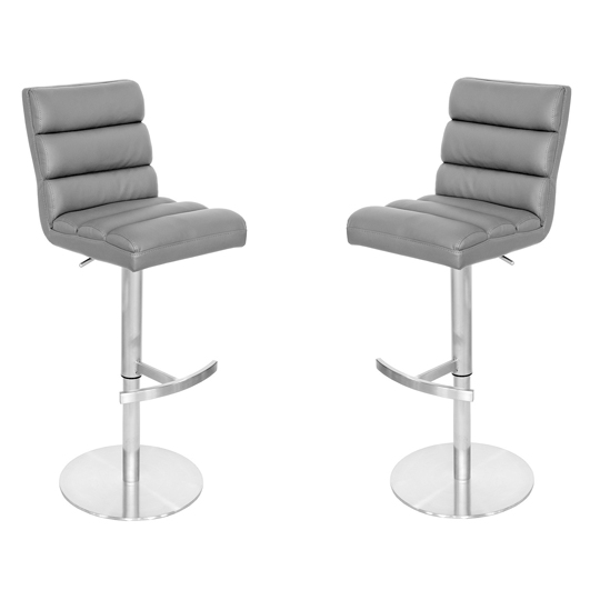Bianca Grey Leather Bar Stool In Pair