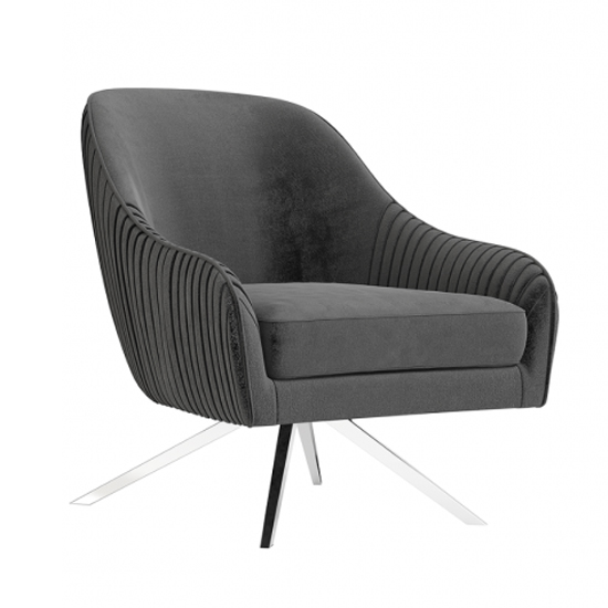 Bianca Velvet Fabric Swivel Lounge Chair In Dark Grey