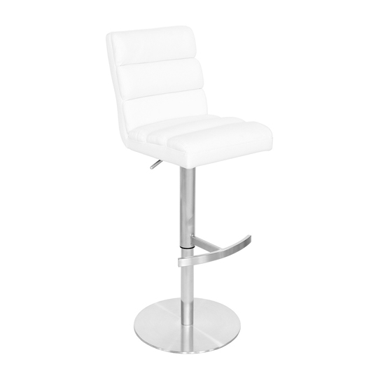 Bianca White Leather Bar Stool With Stainless Steel Base
