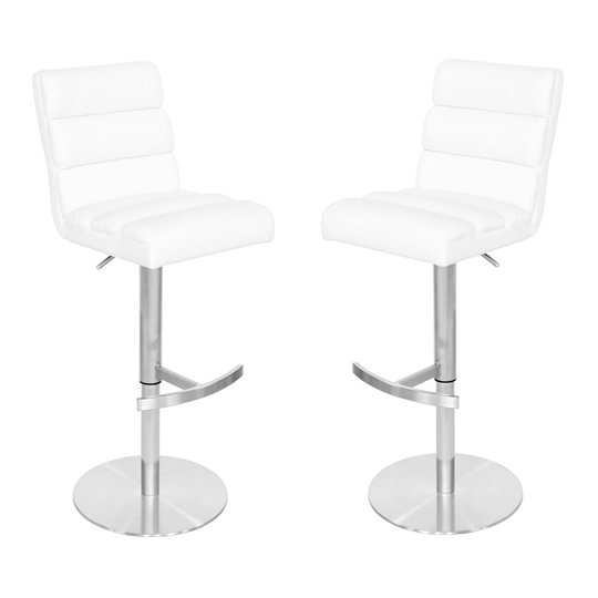 Bianca White Leather Bar Stool In Pair