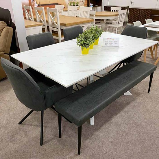 View Bianco dining table set with 4 uno chairs and darcy dining bench