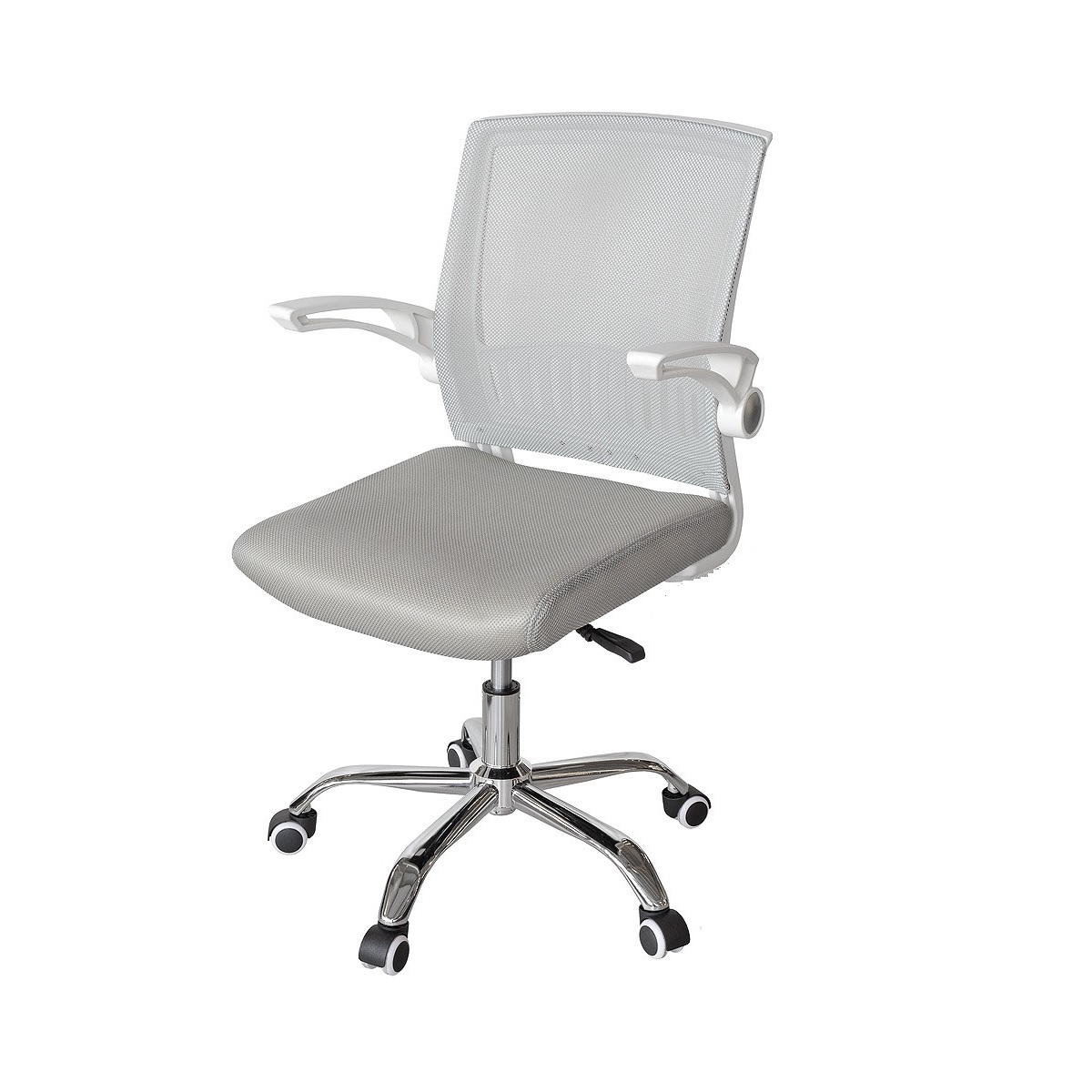 Bicester Mesh Office Chair In Grey And White With Chrome Base_1