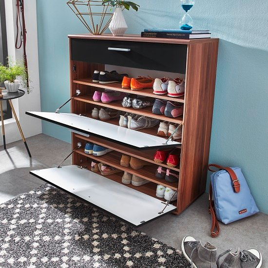 Big Foot Shoe Cabinet In Walnut With Black High Gloss Fronts_2