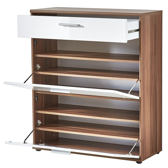 Big Foot Shoe Cabinet In Walnut With White High Gloss Fronts_3