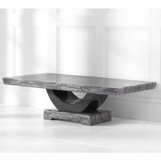 Biham Marble Top Coffee Table In Dark Grey