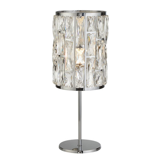 Bijou 1 Bulb Table Lamp In Chrome With Crystal Glass_1