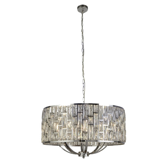 Bijou Wall Hung 8 Pendant Light In Chrome With Crystal Glass