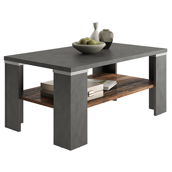 Biloxi Wooden Coffee Table In Old Style Dark And Matera With Undershelf
