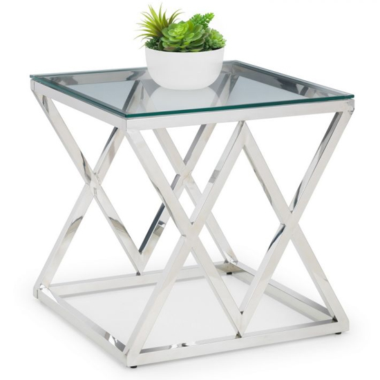 Binghamton Clear Glass Top Lamp Table With Chrome Base