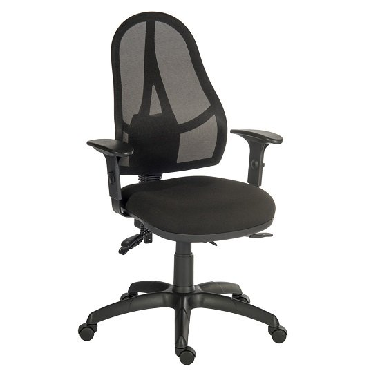 Bingley Home Office Chair In Black Fabric With Mesh Back