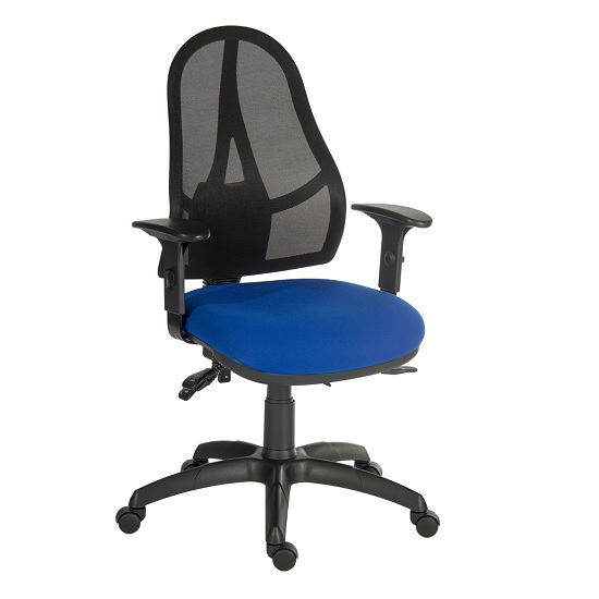Bingley Home Office Chair In Blue Fabric With Mesh Back