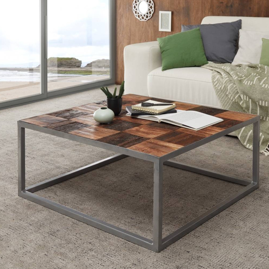 Binto Square Wooden Coffee Table In Oak